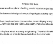 observation from Ms Sangeeta Kohli Gupta ( Daughter of Mr Madan Mohan )