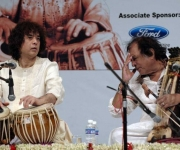 Khansahib on stage with Ustad Zakir Hussain Khan Quereshi