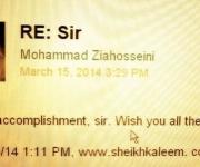 from Professor Mohammad Ziahosseini ( Allame Tabatabali University- Iran)