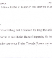Email from Sheikh Bahmanpour, Department of Research , Islamic Centre of England.